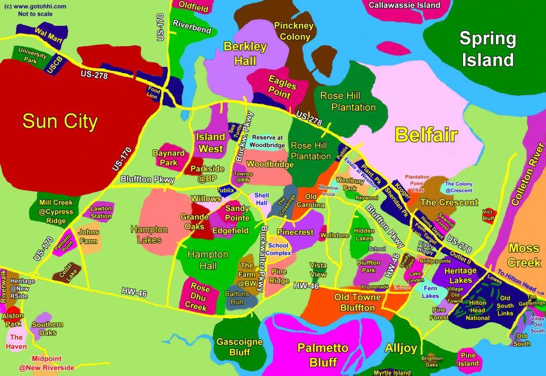 Hilton Head Island South Carolina Map.Bluffton Sc Interactive Map Hilton Head Island Realty And Rentals