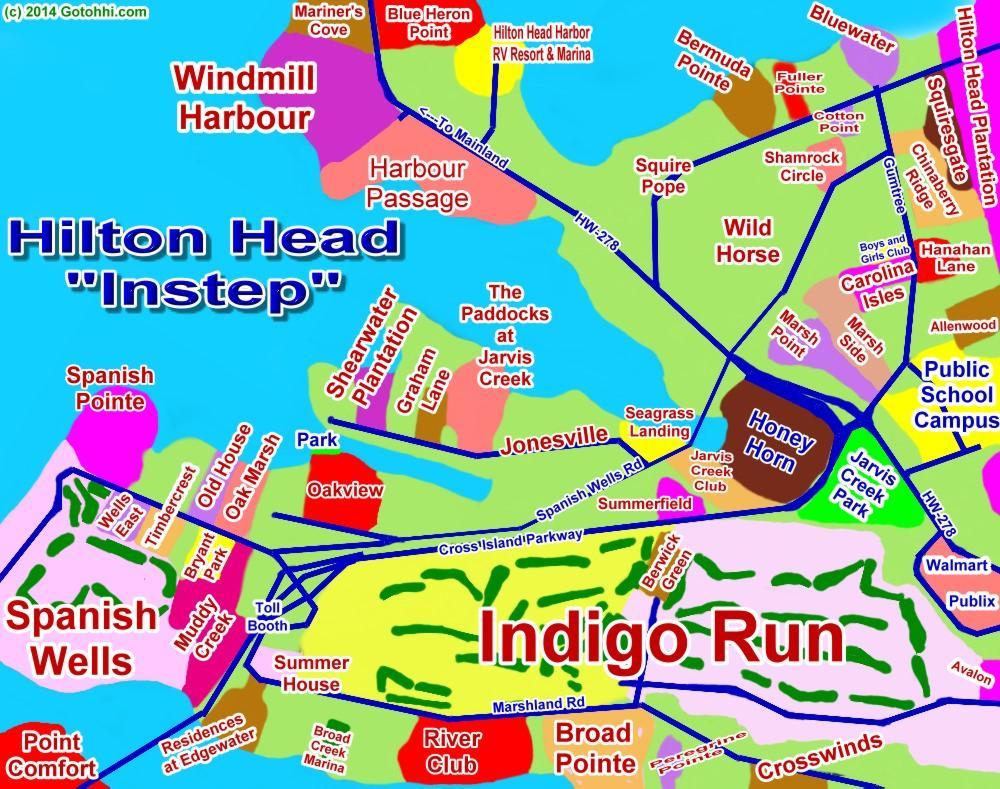 Hilton Head Instep Indigo Run Windmill Harbour Interactive Map - Hilton properties map